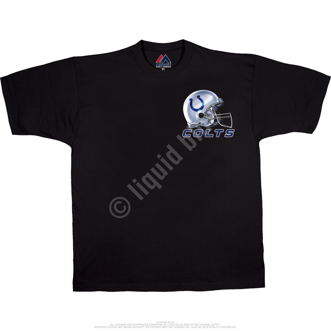 Indianapolis Colts Sky Helmet Black T-Shirt