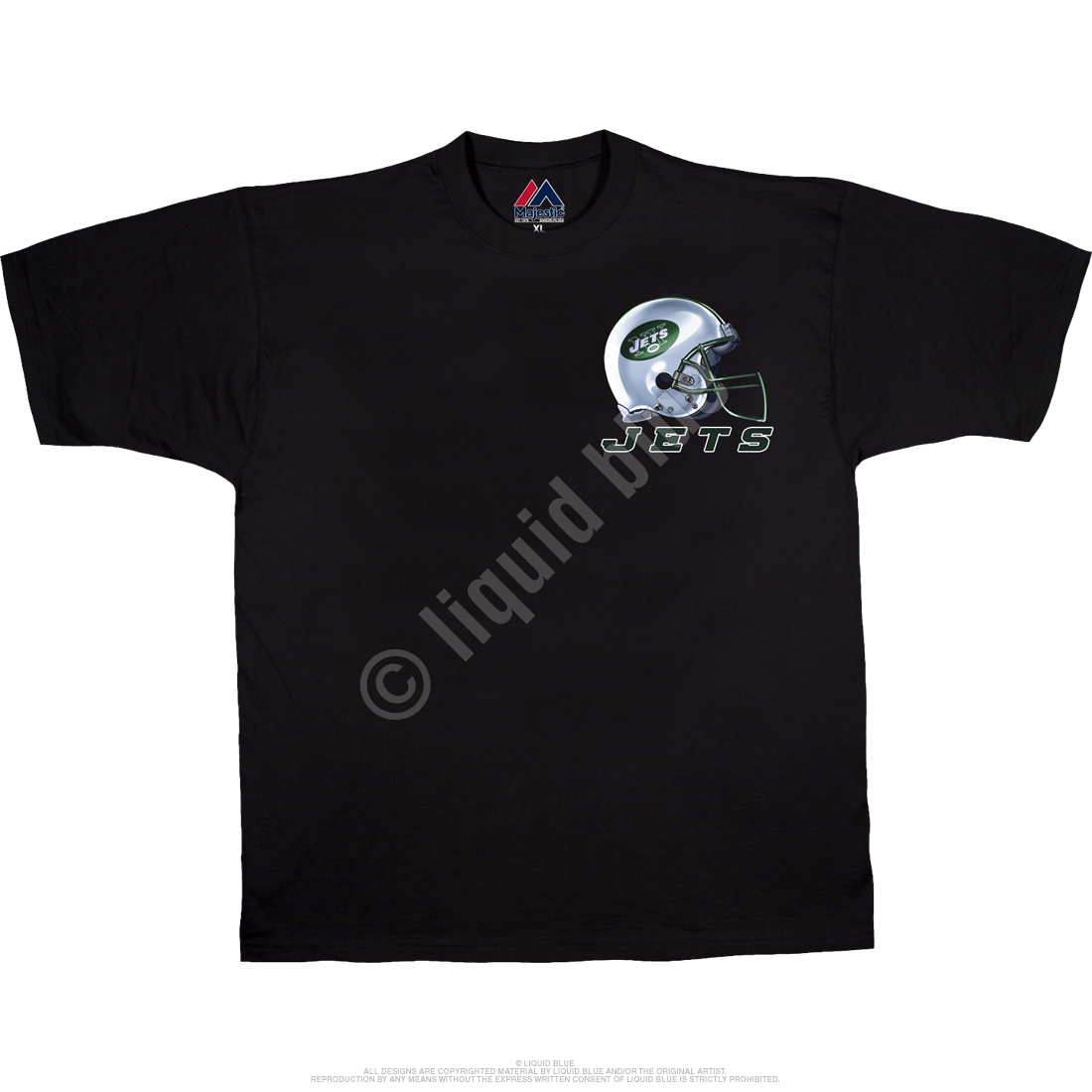New York Jets Sky Helmet Black T-Shirt