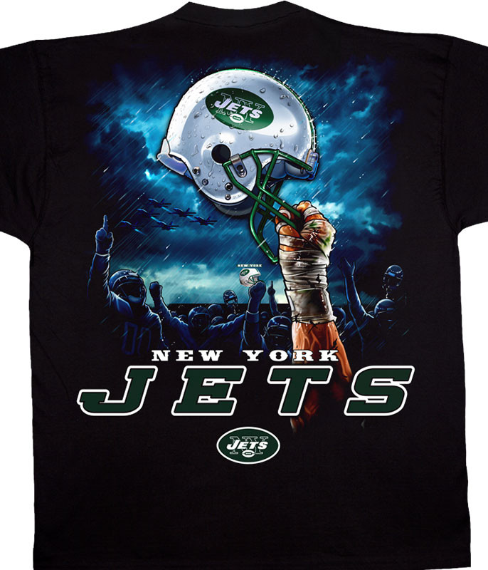 NFL New York Jets Sky Helmet Black T-Shirt Tee Liquid Blue