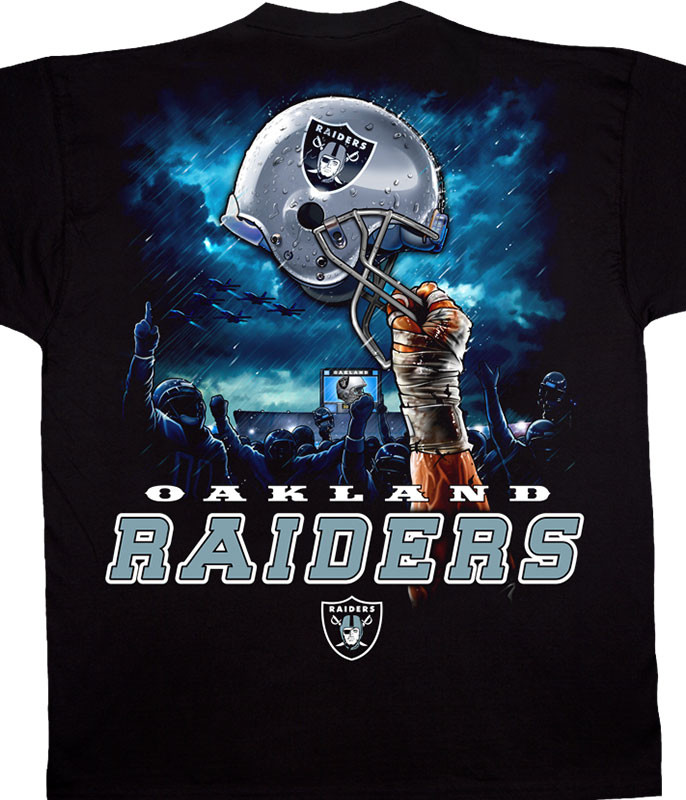 NFL Oakland Raiders Sky Helmet Black T-Shirt Tee Liquid Blue