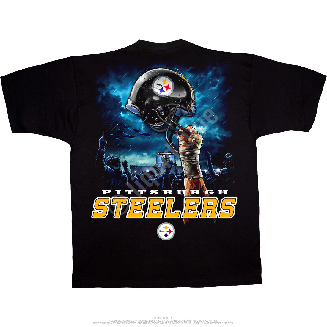 Pittsburgh Steelers Sky Helmet Black T-Shirt