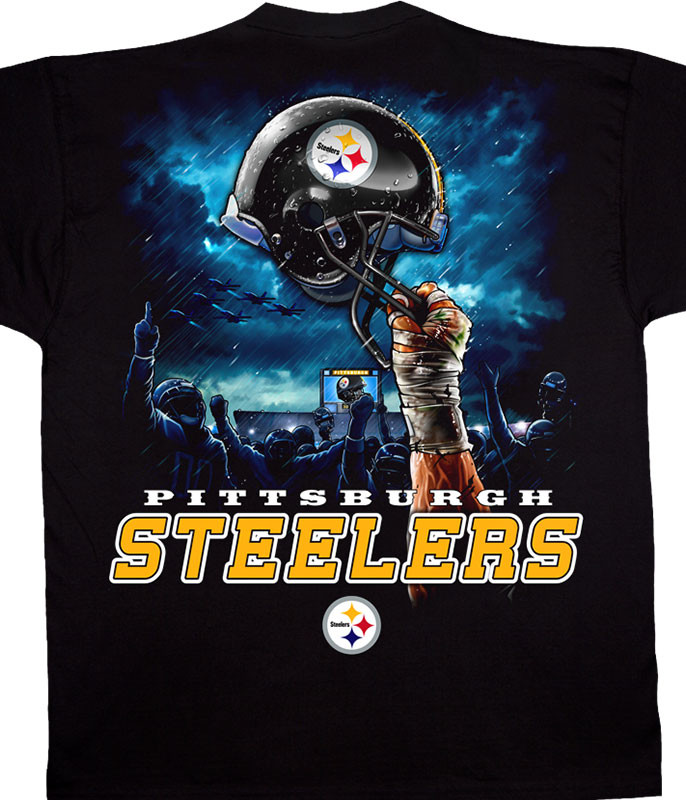 NFL Pittsburgh Steelers Sky Helmet Black T-Shirt Tee Liquid Blue