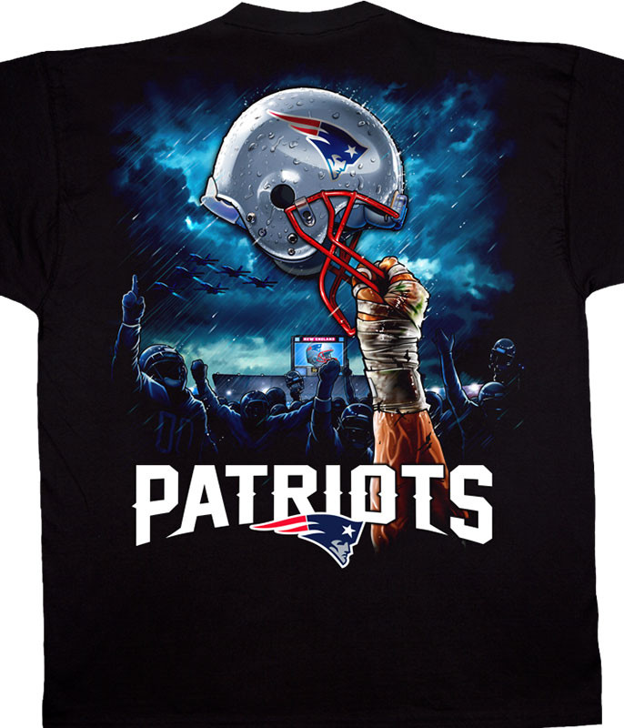 NFL New England Patriots Sky Helmet Black T-Shirt Tee Liquid Blue