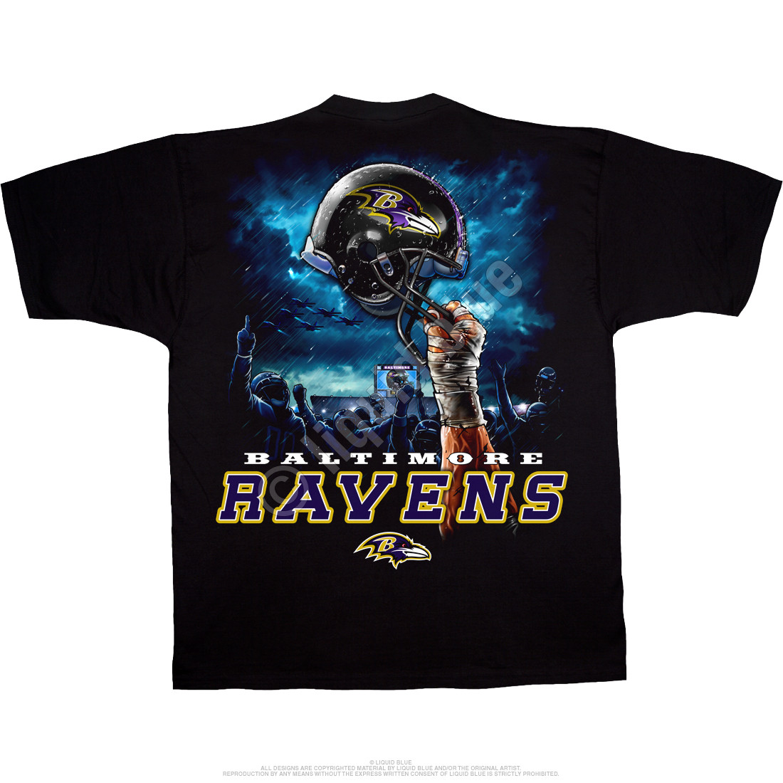 Baltimore Ravens Sky Helmet Black T-Shirt