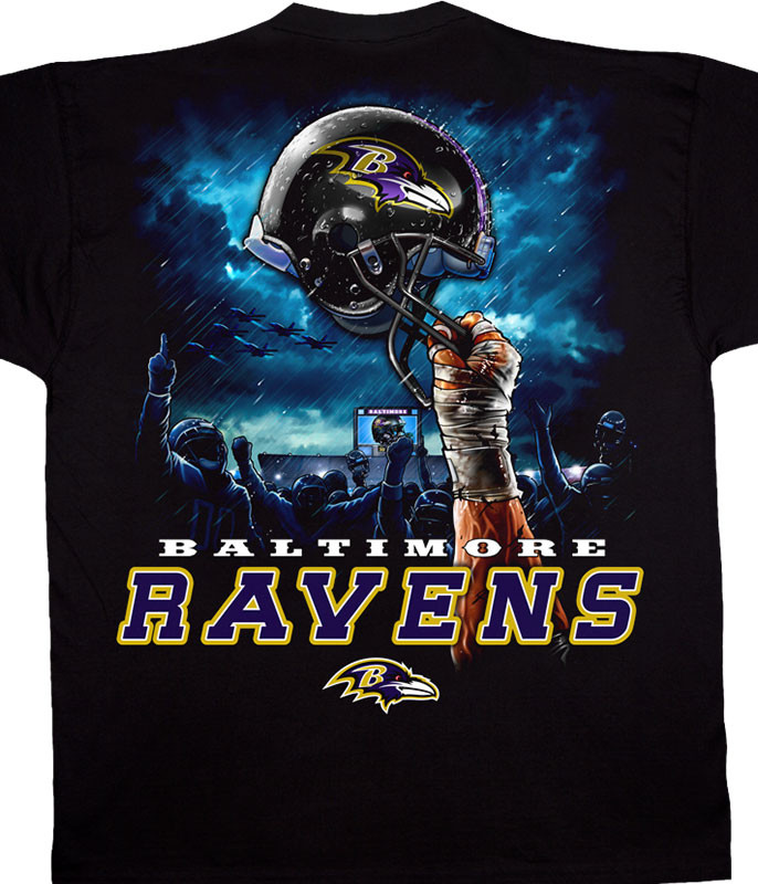NFL Baltimore Ravens Sky Helmet Black T-Shirt Tee Liquid Blue