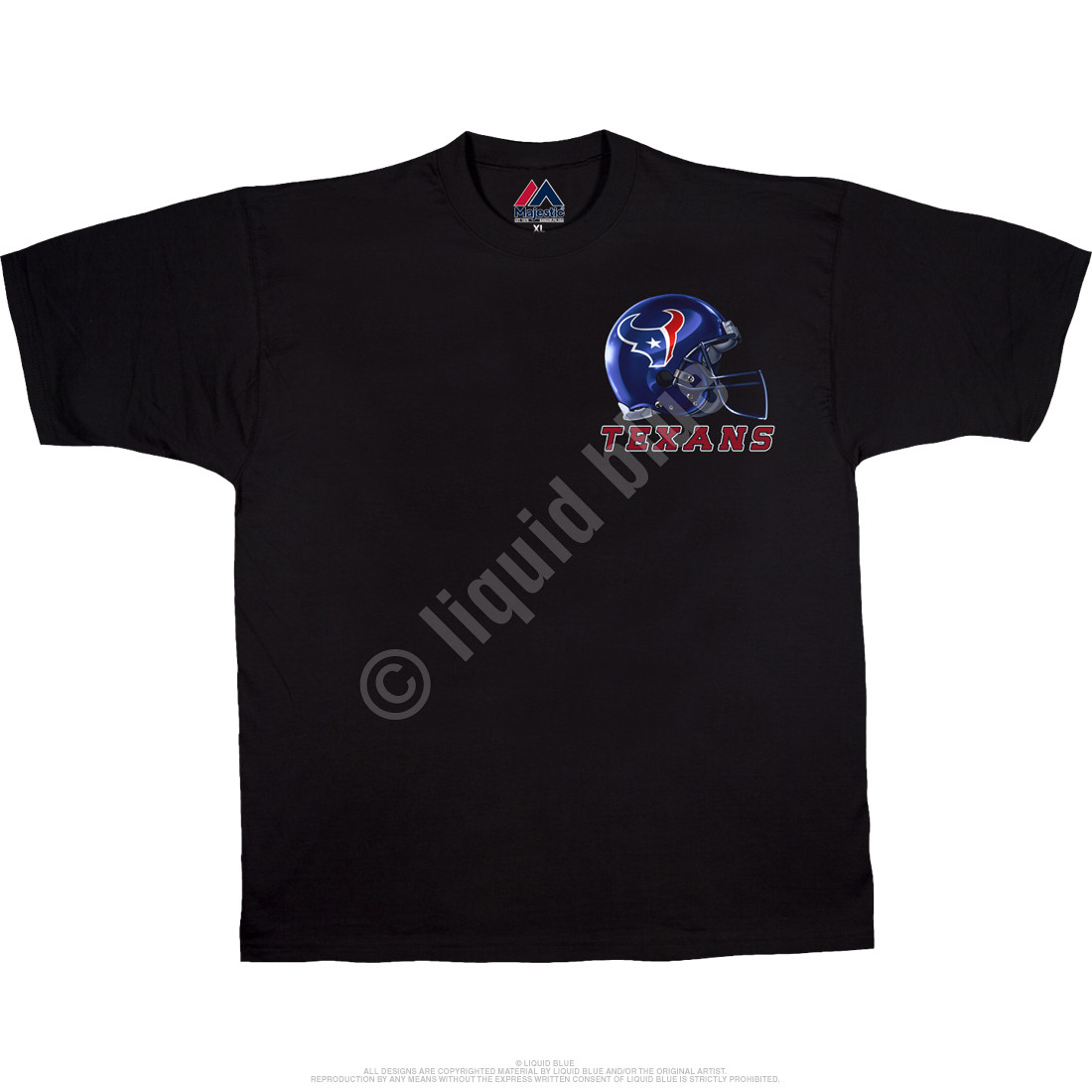 Houston Texans Sky Helmet Black T-Shirt