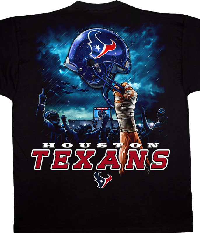 NFL Houston Texans Sky Helmet Black T-Shirt Tee Liquid Blue