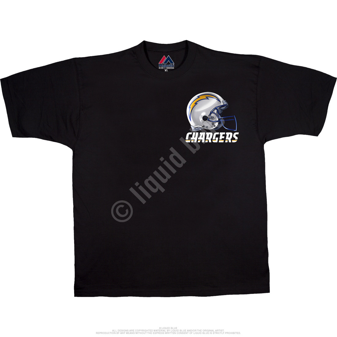 142e2943 Los Angeles Chargers Sky Helmet Black T-Shirt
