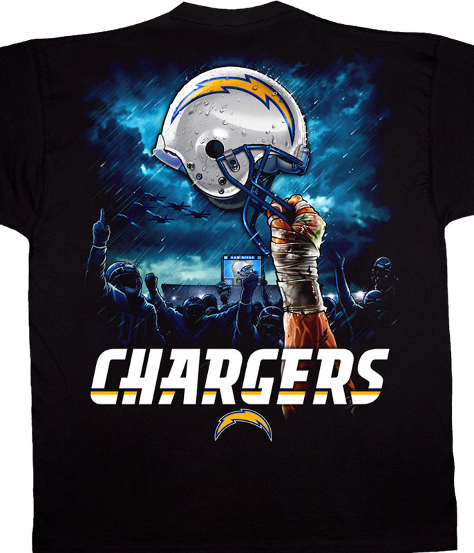 NFL Los Angeles Chargers Sky Helmet Black T-Shirt Tee Liquid Blue