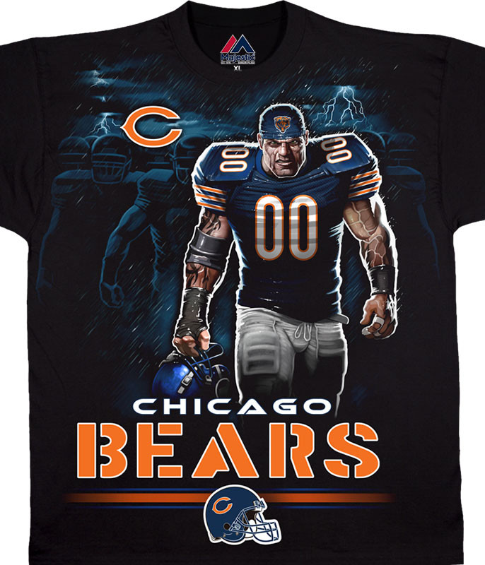 NFL Chicago Bears Tunnel Black T-Shirt Tee Liquid Blue