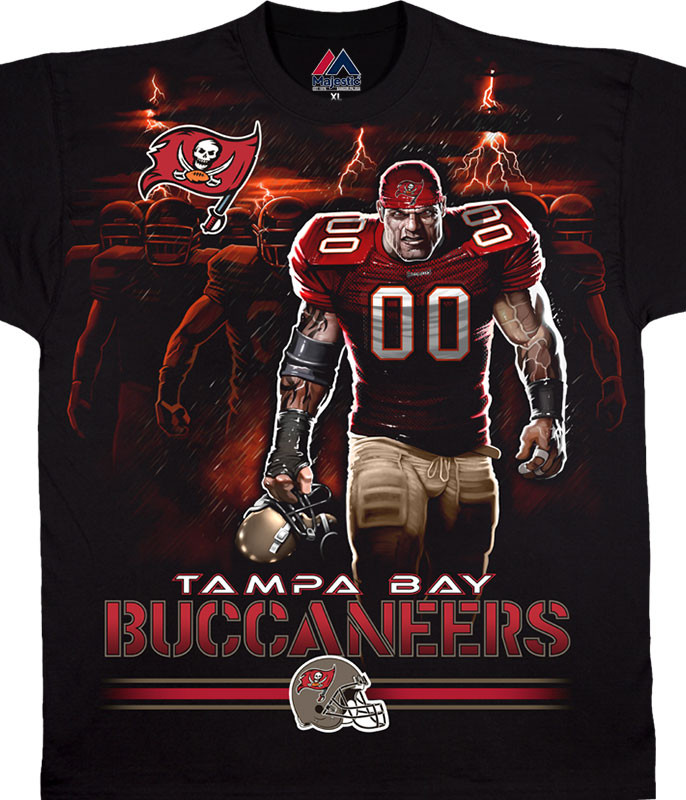 NFL Tampa Bay Buccaneers Tunnel Black T-Shirt Tee Liquid Blue