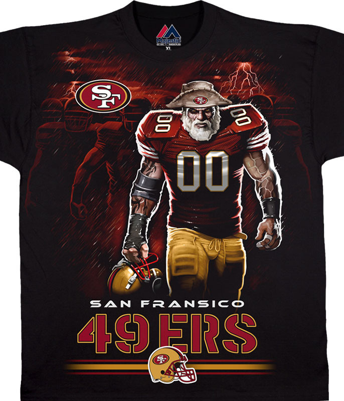 NFL San Francisco 49ers Tunnel Black T-Shirt Tee Liquid Blue