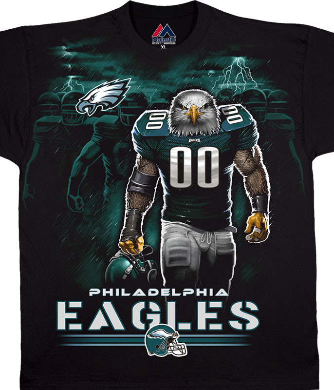 NFL Philadelphia Eagles Tunnel Black T-Shirt Tee Liquid Blue
