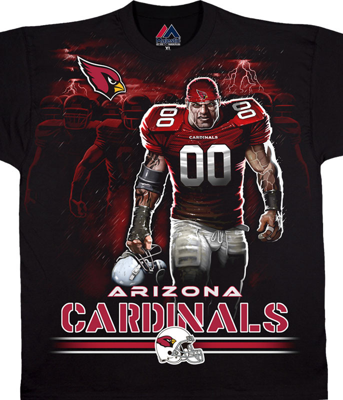 NFL Arizona Cardinals Tunnel Black T-Shirt Tee Liquid Blue