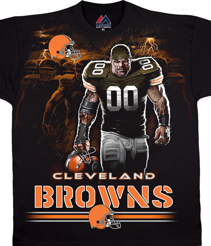 NFL Cleveland Browns Tunnel Black T-Shirt Tee Liquid Blue