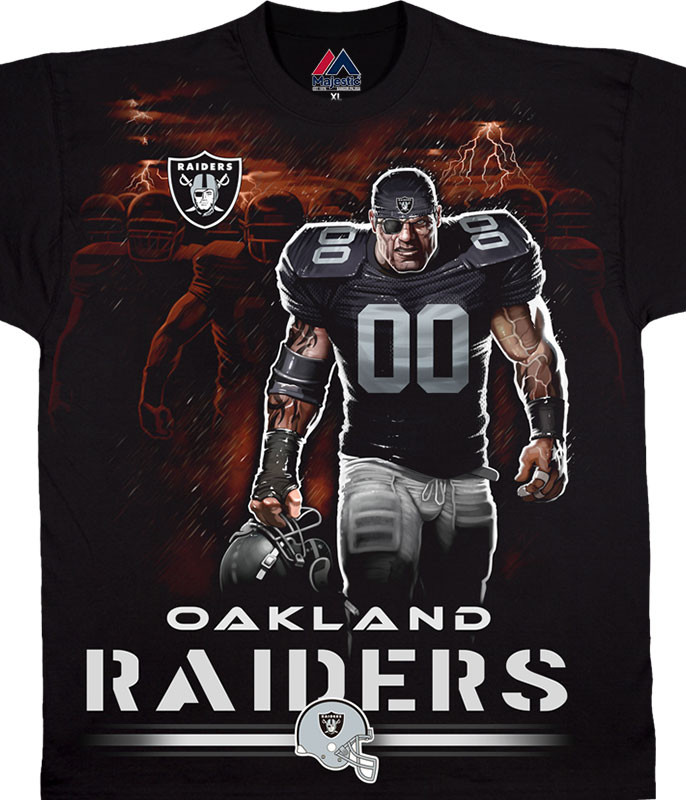 NFL Oakland Raiders Tunnel Black T-Shirt Tee Liquid Blue