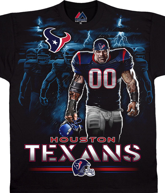 NFL Houston Texans Tunnel Black T-Shirt Tee Liquid Blue
