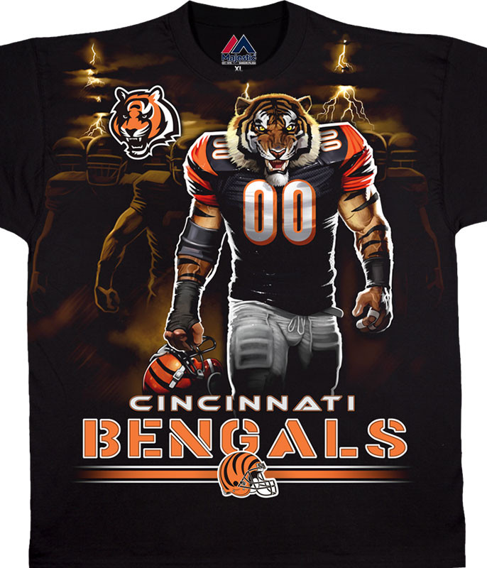 NFL Cincinnati Bengals Tunnel Black T-Shirt Tee Liquid Blue
