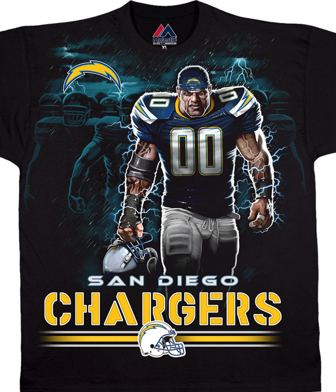 NFL Los Angeles Chargers Tunnel Black T-Shirt Tee Liquid Blue