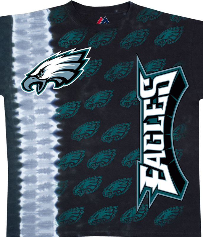 NFL Philadelphia Eagles Vertical Tie-Dye T-Shirt Tee Liquid Blue