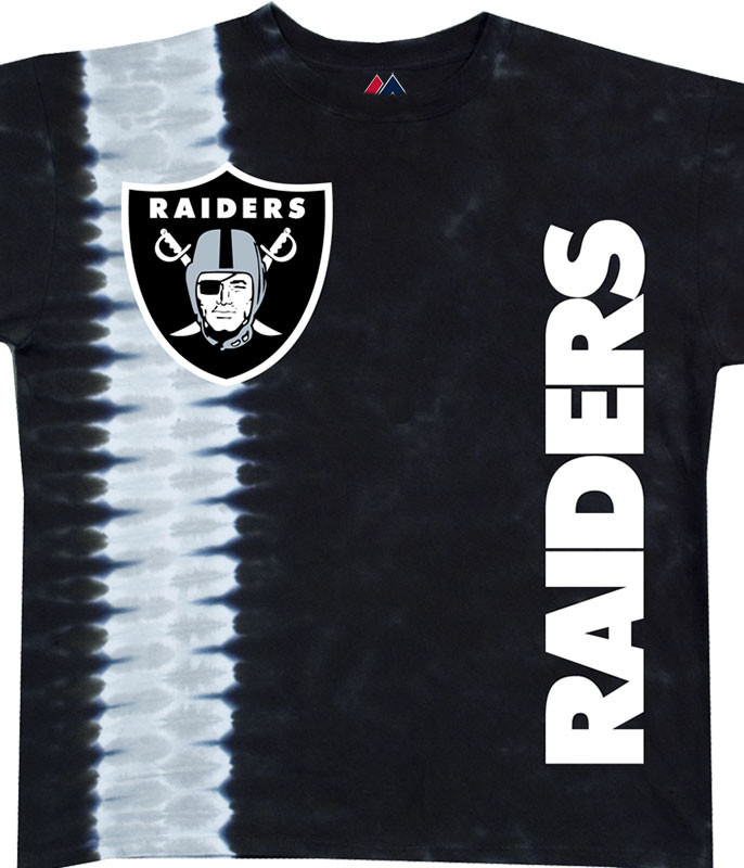 NFL Oakland Raiders Vertical Tie-Dye T-Shirt Tee Liquid Blue