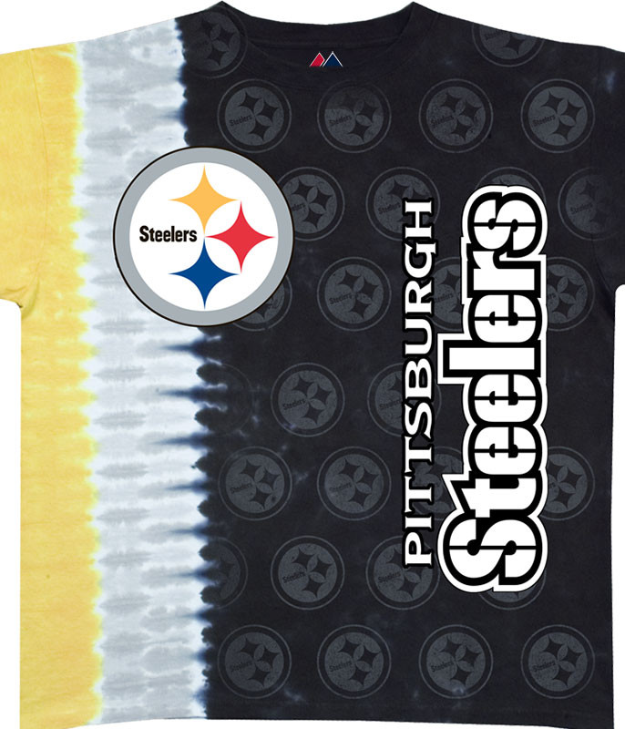 NFL Pittsburgh Steelers Vertical Tie-Dye T-Shirt Tee Liquid Blue