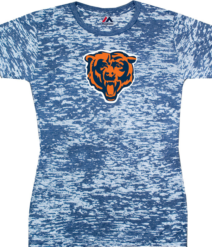 NFL Chicago Bears Burnout Tie-Dye Juniors Long Length T-Shirt Tee Liquid Blue