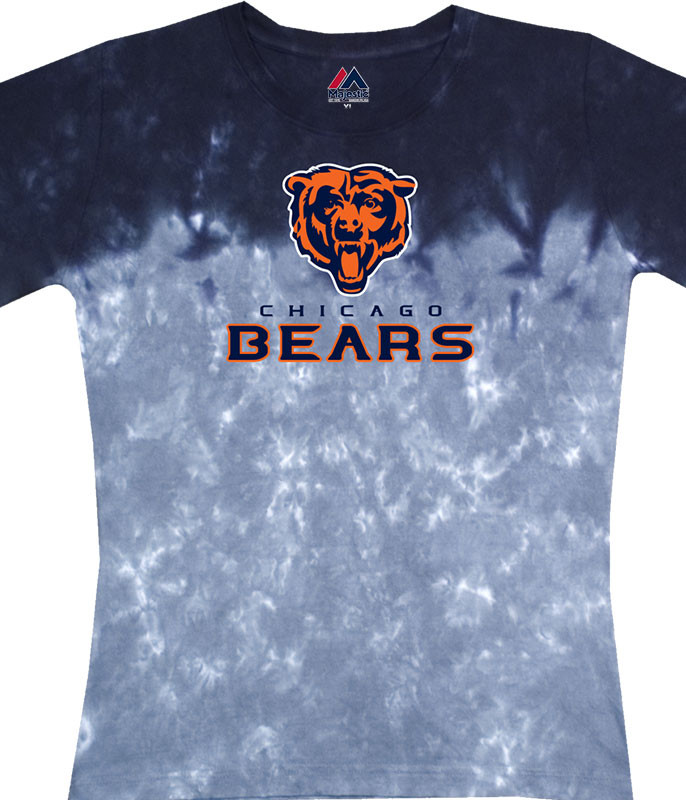 NFL Chicago Bears Banded Logo Tie-Dye Juniors Long Length T-Shirt Tee Liquid Blue