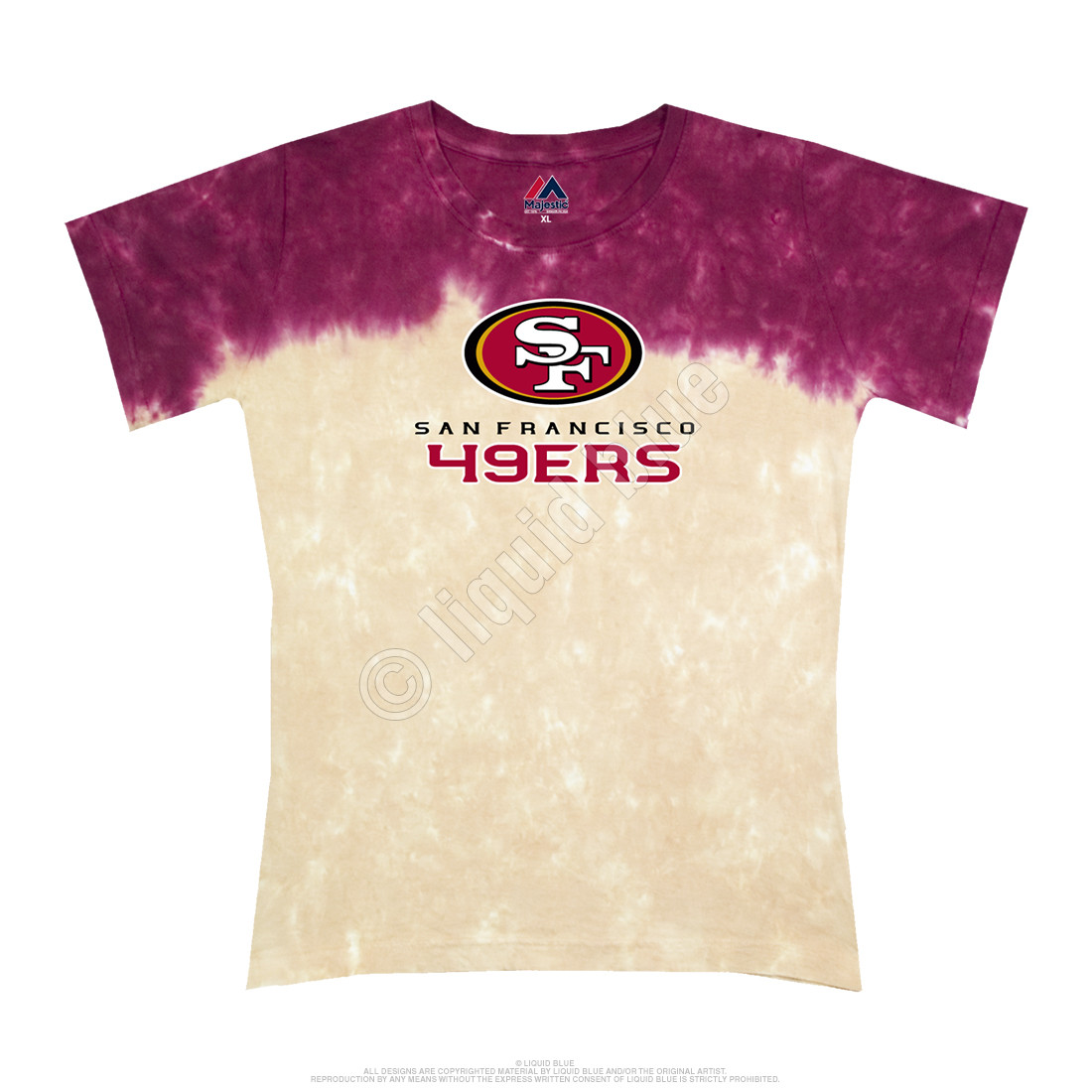 San Francisco 49ers Banded Logo Tie-Dye Juniors Long Length T-Shirt
