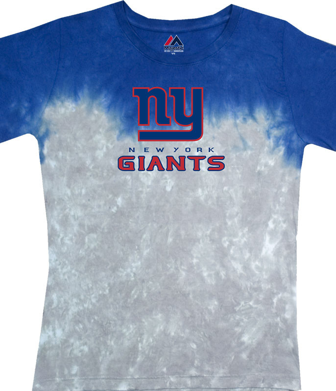 NFL New York Giants Banded Logo Tie-Dye Juniors Long Length T-Shirt Tee Liquid Blue