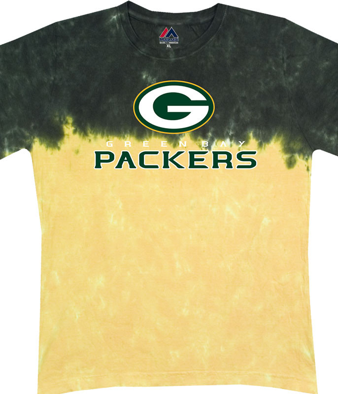 NFL Green Bay Packers Banded Logo Tie-Dye Juniors Long Length T-Shirt Tee Liquid Blue