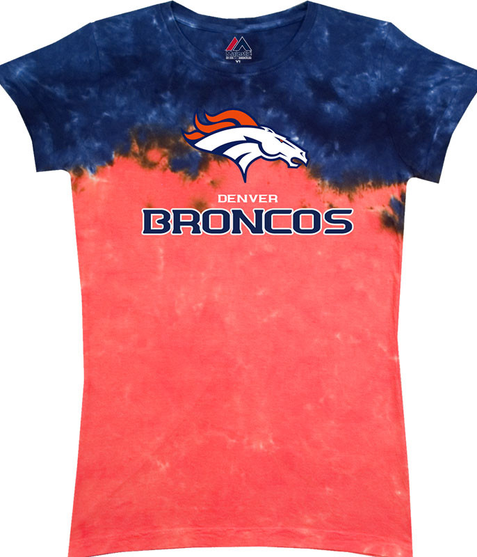 NFL Denver Broncos Banded Logo Tie-Dye Juniors Long Length T-Shirt Tee Liquid Blue