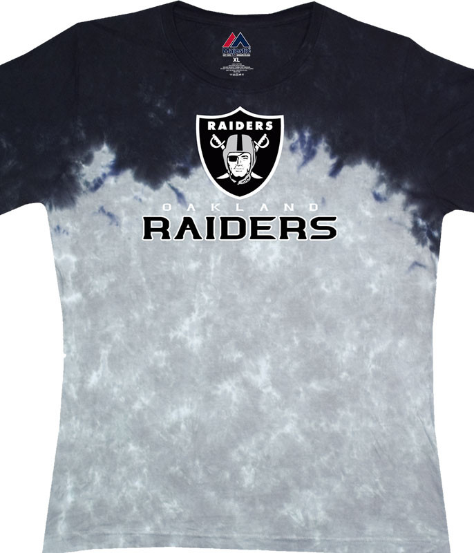 NFL Oakland Raiders Banded Logo Tie-Dye Juniors Long Length T-Shirt Tee Liquid Blue