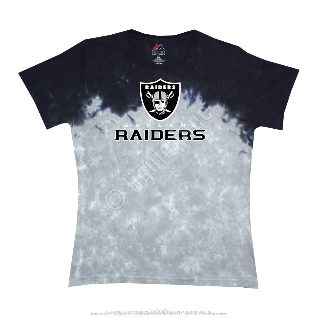 NFL Oakland Raiders Banded Logo Tie Dye Juniors Long Length T Shirt  for cheap