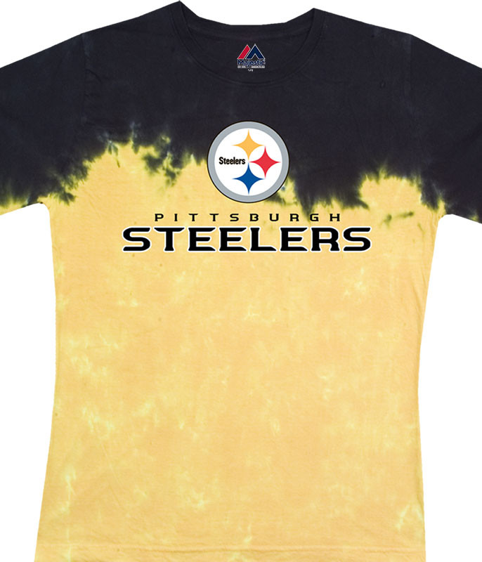 NFL Pittsburgh Steelers Banded Logo Tie-Dye Juniors Long Length T-Shirt Tee Liquid Blue