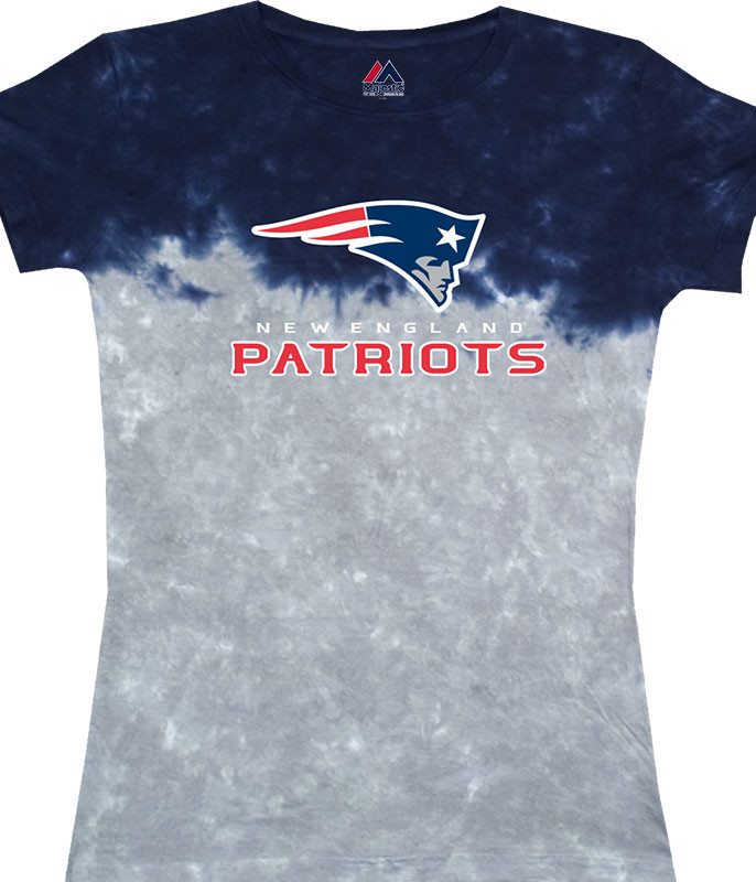 New England Patriots Banded Logo Tie-Dye Juniors Long Length T-Shirt