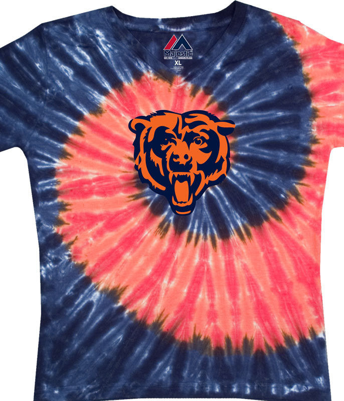 NFL Chicago Bears Juniors Spiral V Tie-Dye Long Length T-Shirt Tee Liquid Blue