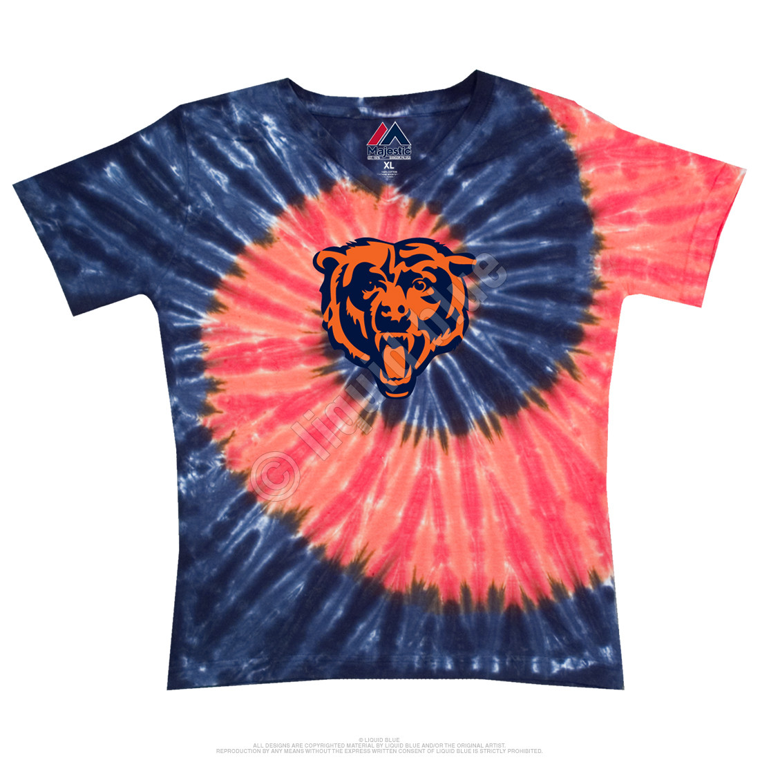 Chicago Bears Juniors Spiral V Tie-Dye Long Length T-Shirt