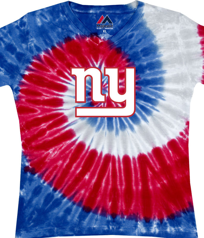 NFL New York Giants Juniors Spiral V Tie-Dye Long Length T-Shirt Tee Liquid Blue
