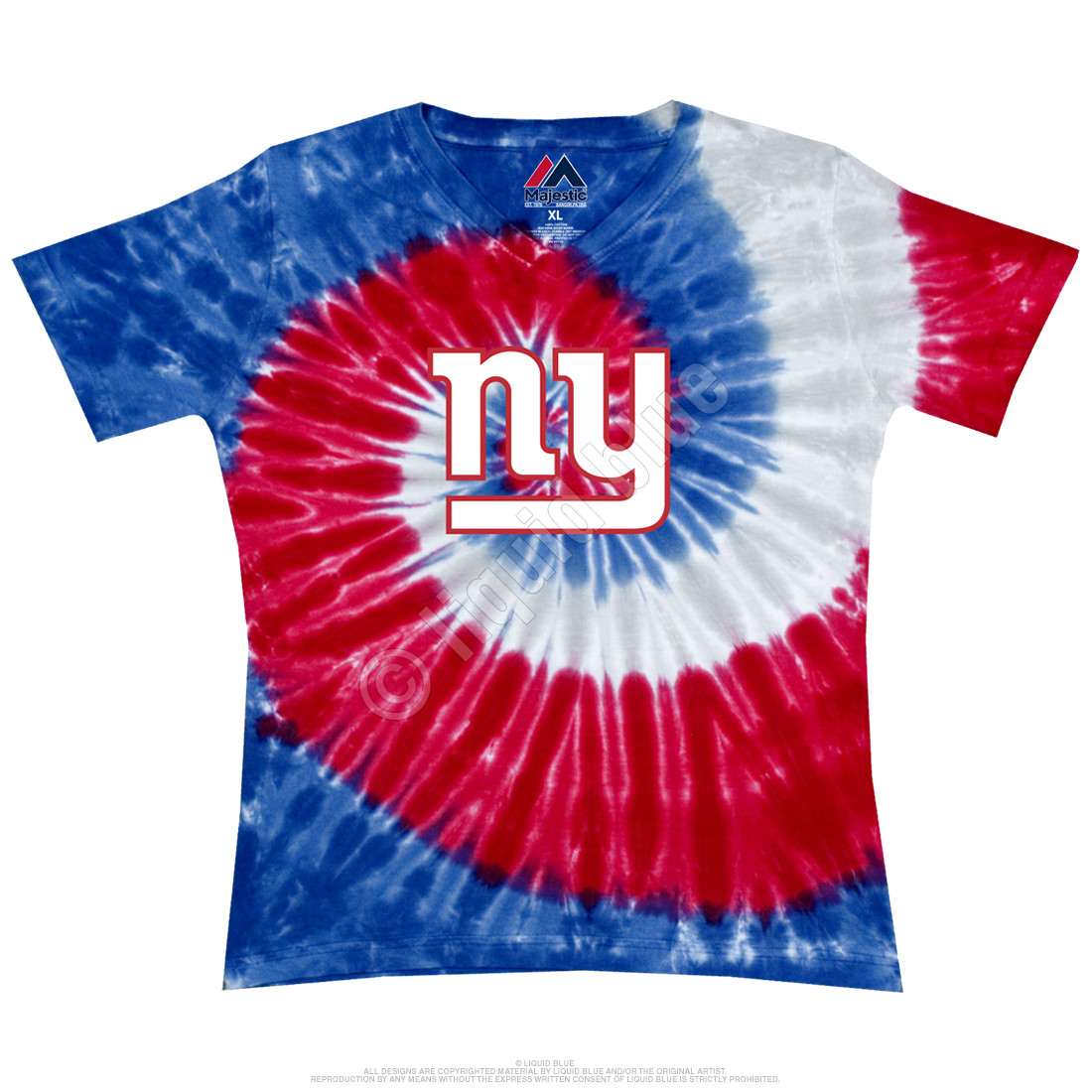 New York Giants Juniors Spiral V Tie-Dye Long Length T-Shirt