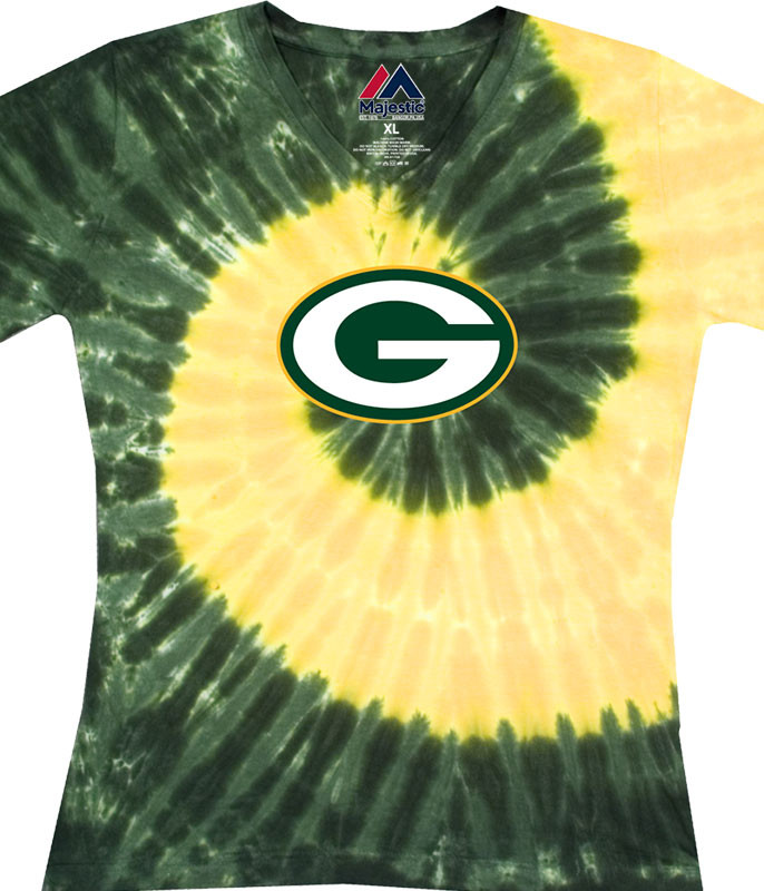 NFL Green Bay Packers Juniors Spiral V Tie-Dye Long Length T-Shirt Tee Liquid Blue