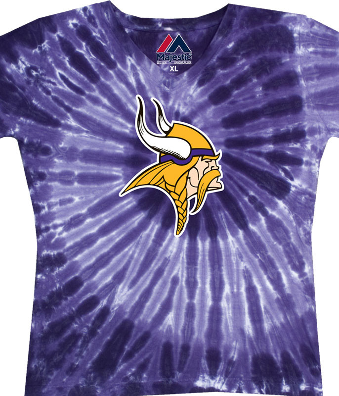 NFL Minnesota Vikings Juniors Spiral V Tie-Dye Long Length T-Shirt Tee Liquid Blue