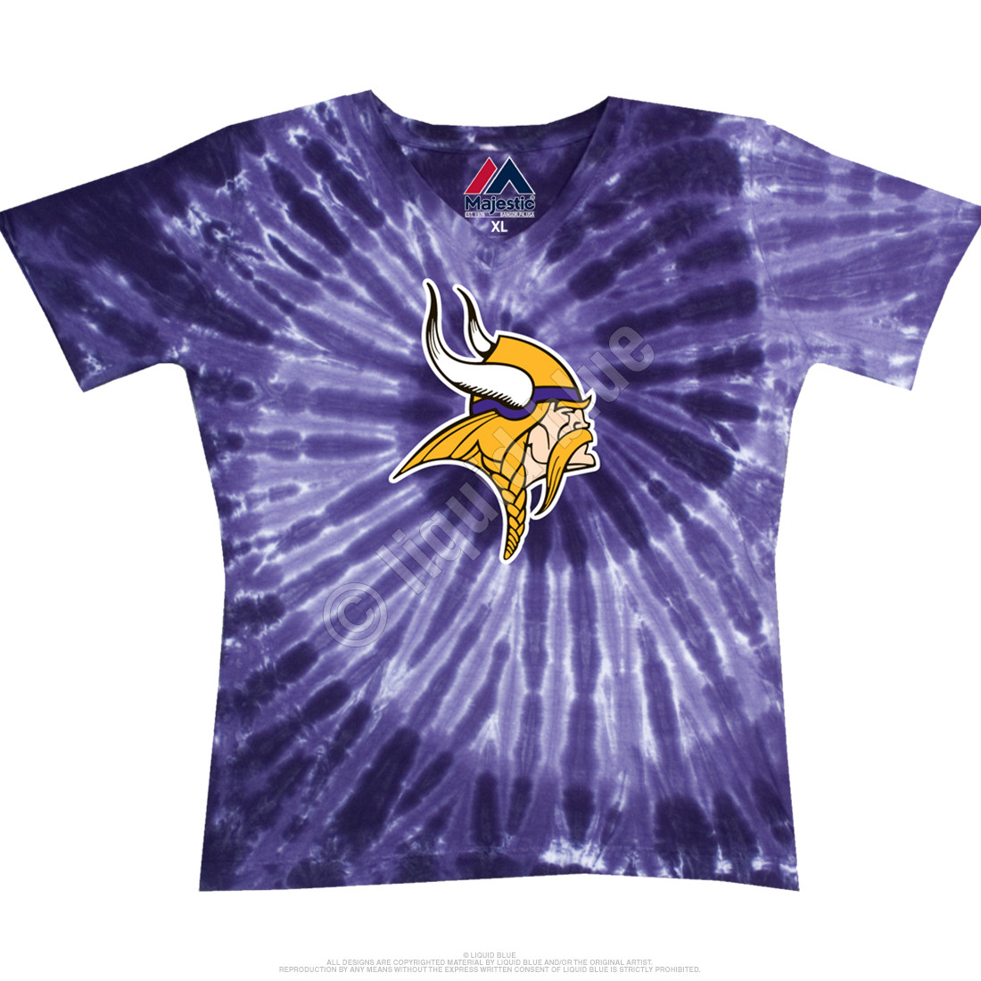 5f56db29e NFL Minnesota Vikings Juniors Spiral V Tie-Dye Long Length T-Shirt ...