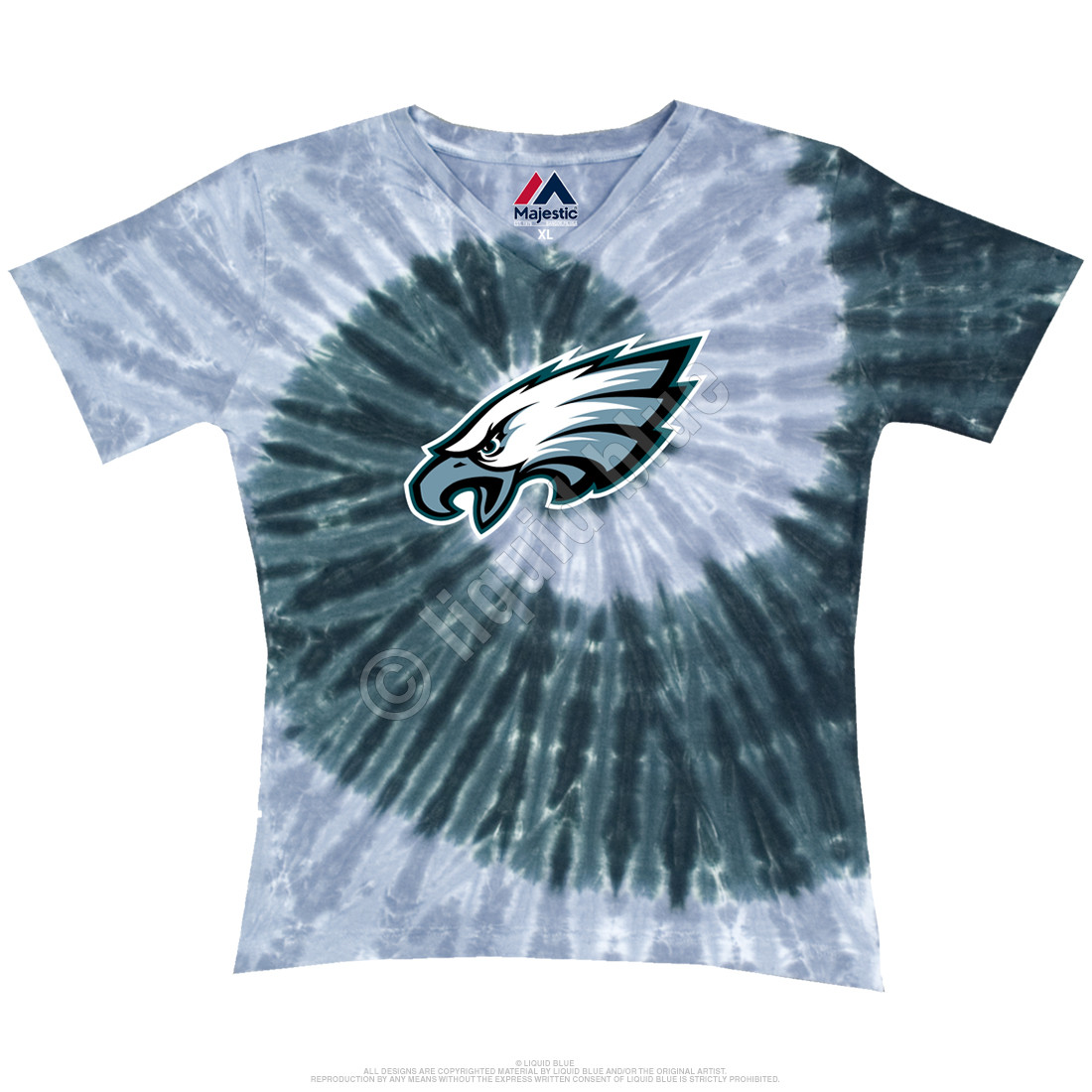 Philadelphia Eagles Juniors Spiral V Tie-Dye Long Length T-Shirt