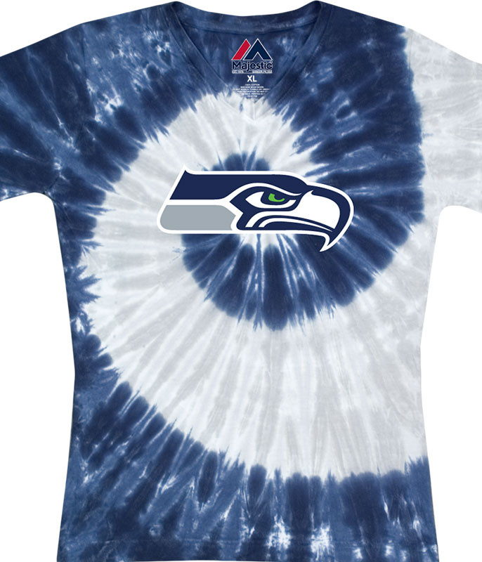 Seattle Seahawks Juniors Spiral V Tie-Dye Long Length T-Shirt