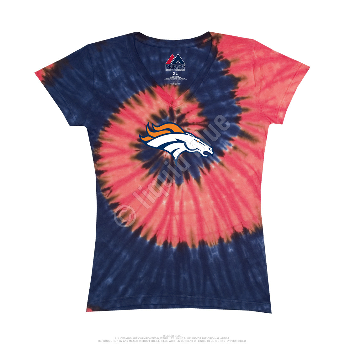 Denver Broncos Juniors Spiral V Tie-Dye Long Length T-Shirt