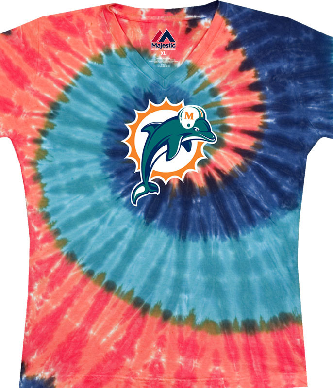 NFL Miami Dolphins Juniors Spiral V Tie-Dye Long Length T-Shirt Tee Liquid Blue