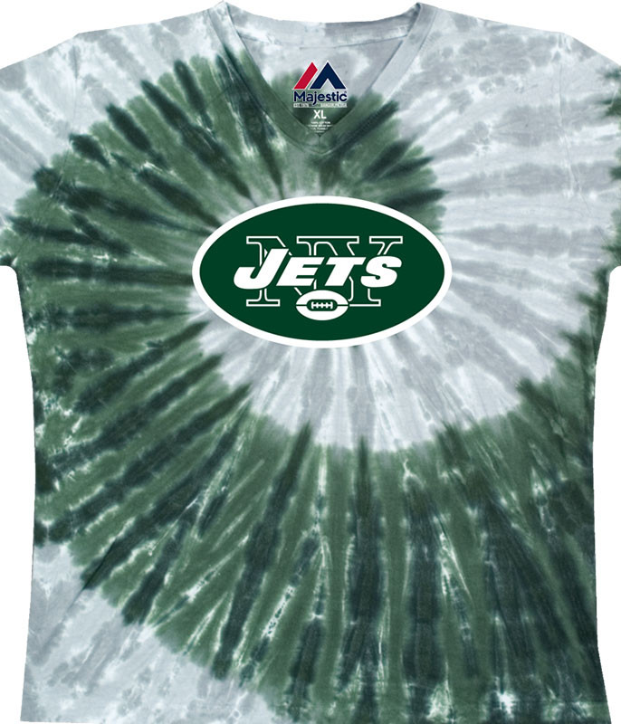 New York Jets Juniors Spiral V Tie-Dye Long Length T-Shirt