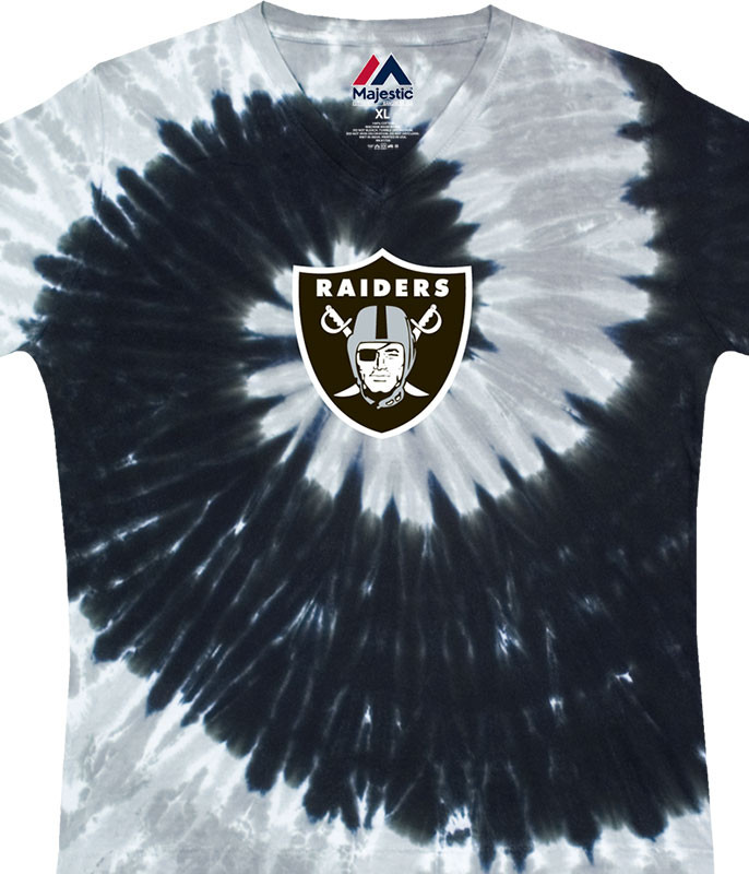 NFL Oakland Raiders Juniors Spiral V Tie-Dye Long Length T-Shirt Tee Liquid Blue