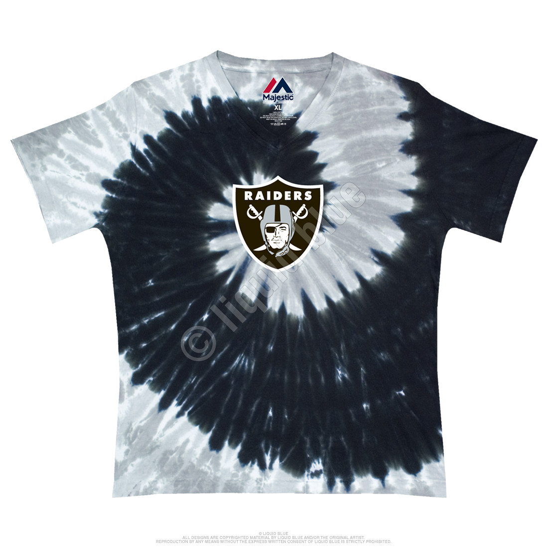 Oakland Raiders Juniors Spiral V Tie-Dye Long Length T-Shirt